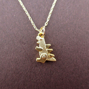 Godzilla Dinosaur Shaped Pendant Necklace in Gold | DOTOLY | DOTOLY