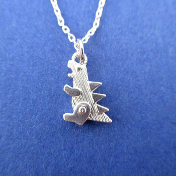 Godzilla Dinosaur Shaped Pendant Necklace in Silver | DOTOLY | DOTOLY