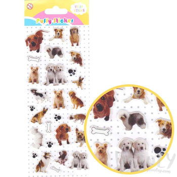 Golden Retriever Dachshund Dog Breed Puppy Photo Puffy Stickers for Scrapbooking | DOTOLY