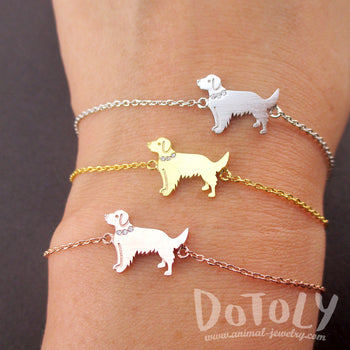 Golden Retriever Shaped Charm Bracelet for Dog Lovers | Animal Jewelry