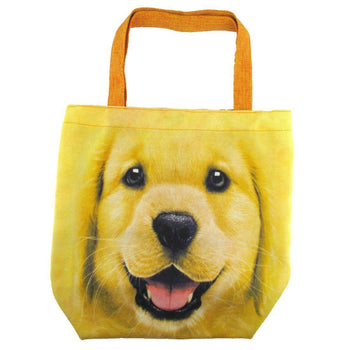 Golden Retriever Puppy Face Print Hemp Fabric Tote Shopper Bag | Gifts for Dog Lovers | DOTOLY