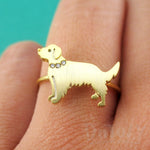 Golden Retriever with Rhinestone Collar Shaped Adjustable Ring in Gold DOTOLY