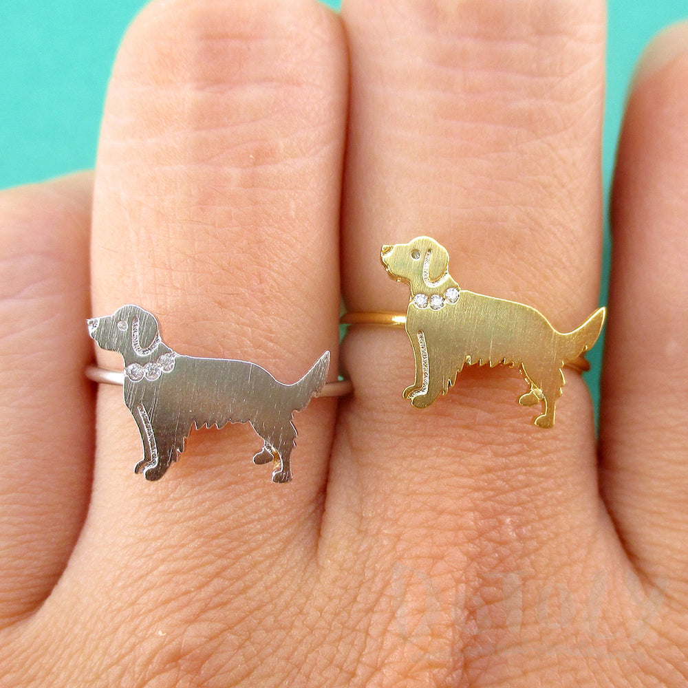 Golden Retriever with Rhinestone Collar Shaped Adjustable Ring DOTOLY