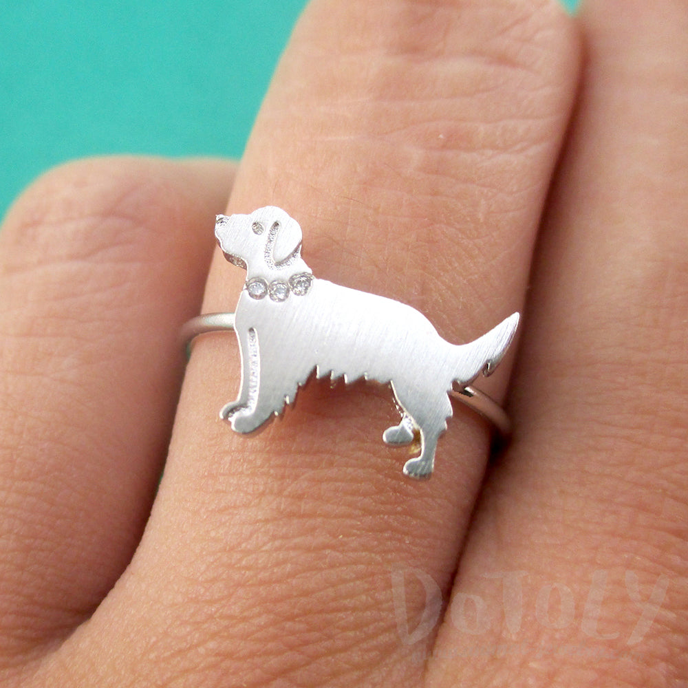 Golden Retriever with Rhinestone Collar Shaped Adjustable Ring in Silver DOTOLY