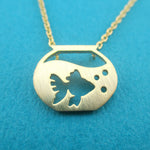 Goldfish in a Fish Bowl Silhouette Shaped Pendant Necklace in Gold | DOTOLY