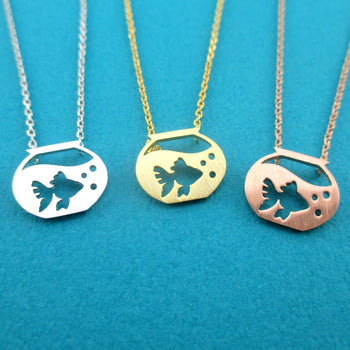 Goldfish in a Fish Bowl Silhouette Shaped Pendant Necklace | DOTOLY