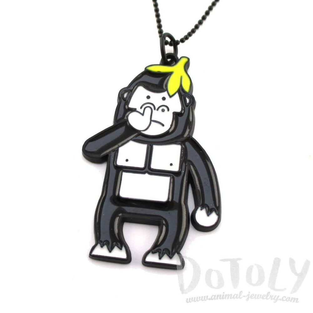 Gorilla Picking His Nose Enamel Pendant Necklace | DOTOLY | DOTOLY