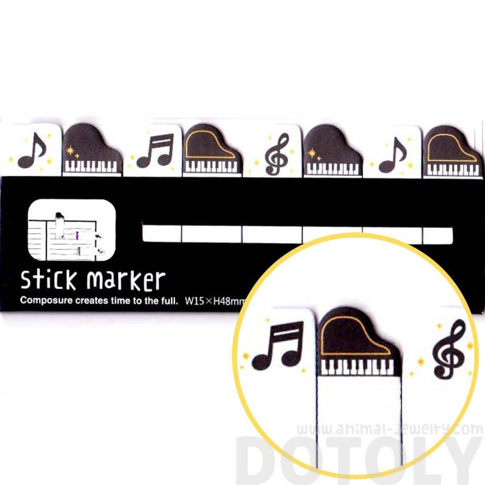 Grand Piano and Music Notes Shaped Memo Post-it Index Tab Sticky Bookmarks | DOTOLY