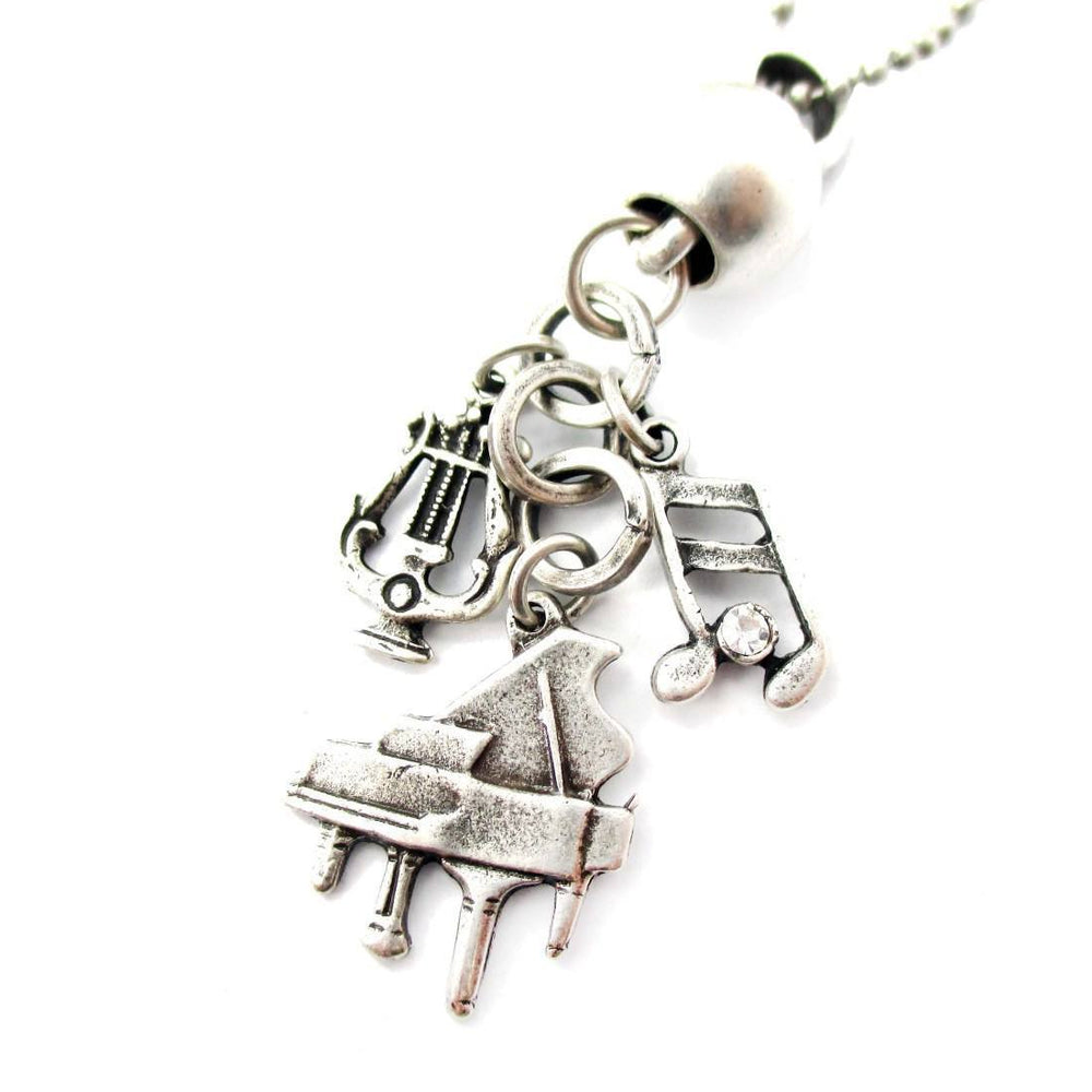 Grand Piano and Musical Notes Shaped Music Themed Charm Necklace in Silver | DOTOLY