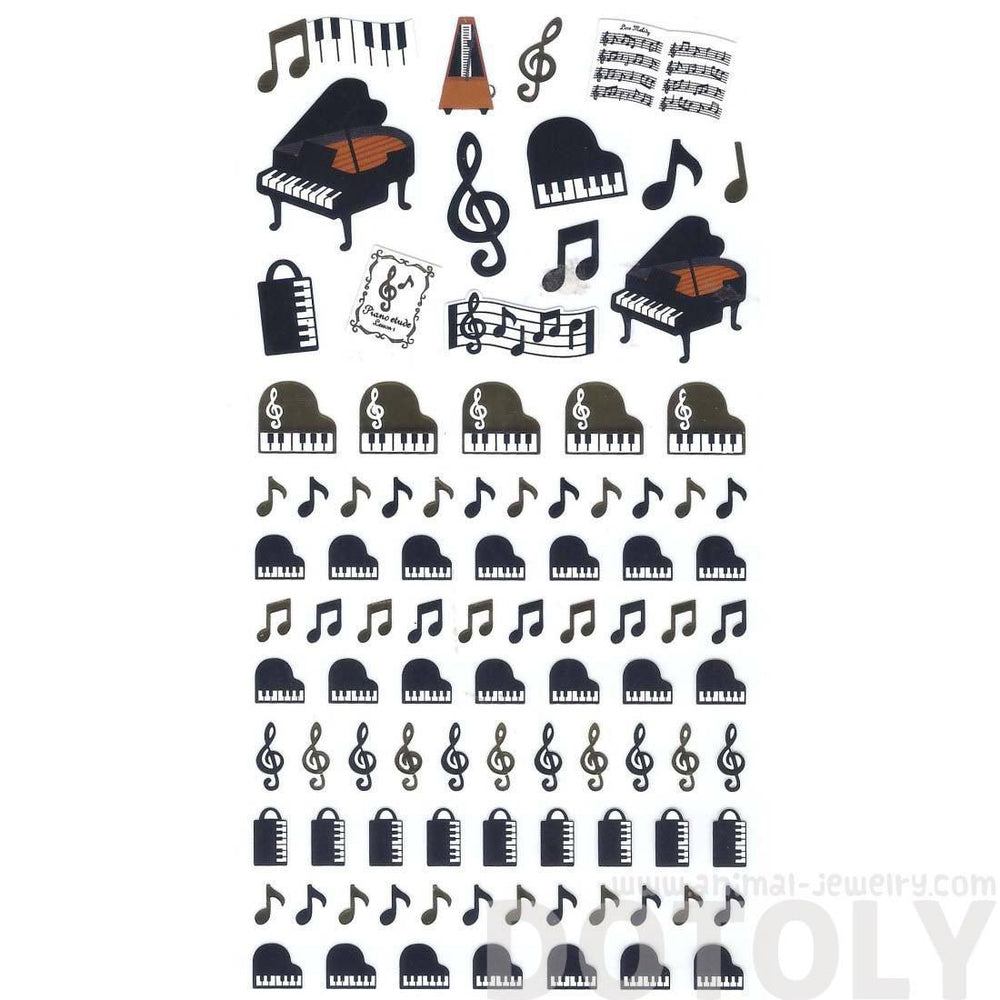 Grand Piano Musical Notes Treble Clef Music Themed Stickers for Scrapbooking and Decorating | DOTOLY