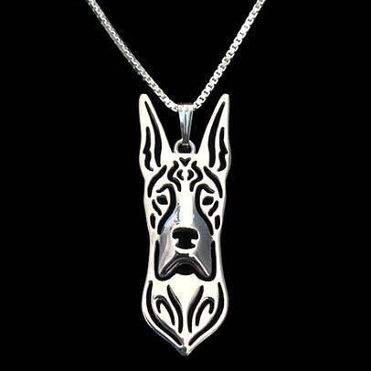 Great Dane Dog Cut Out Shaped Pendant Necklace in Silver | Animal Jewelry | DOTOLY