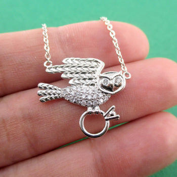 Great Horned Owl Bird Carrying a Diamond Ring Shaped Pendant Necklace