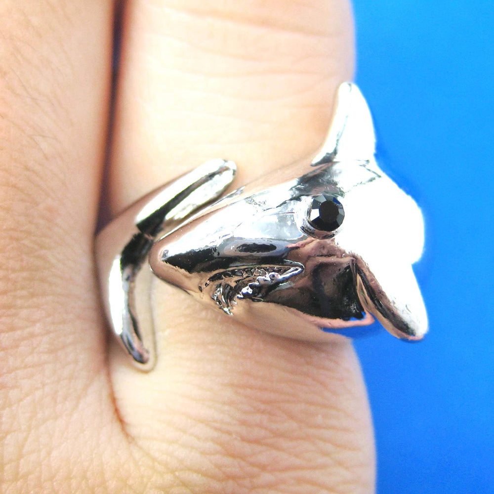 Great White Shark Wrap Around Sea Animal Ring in Shiny Silver | Size 5 to 7 | DOTOLY