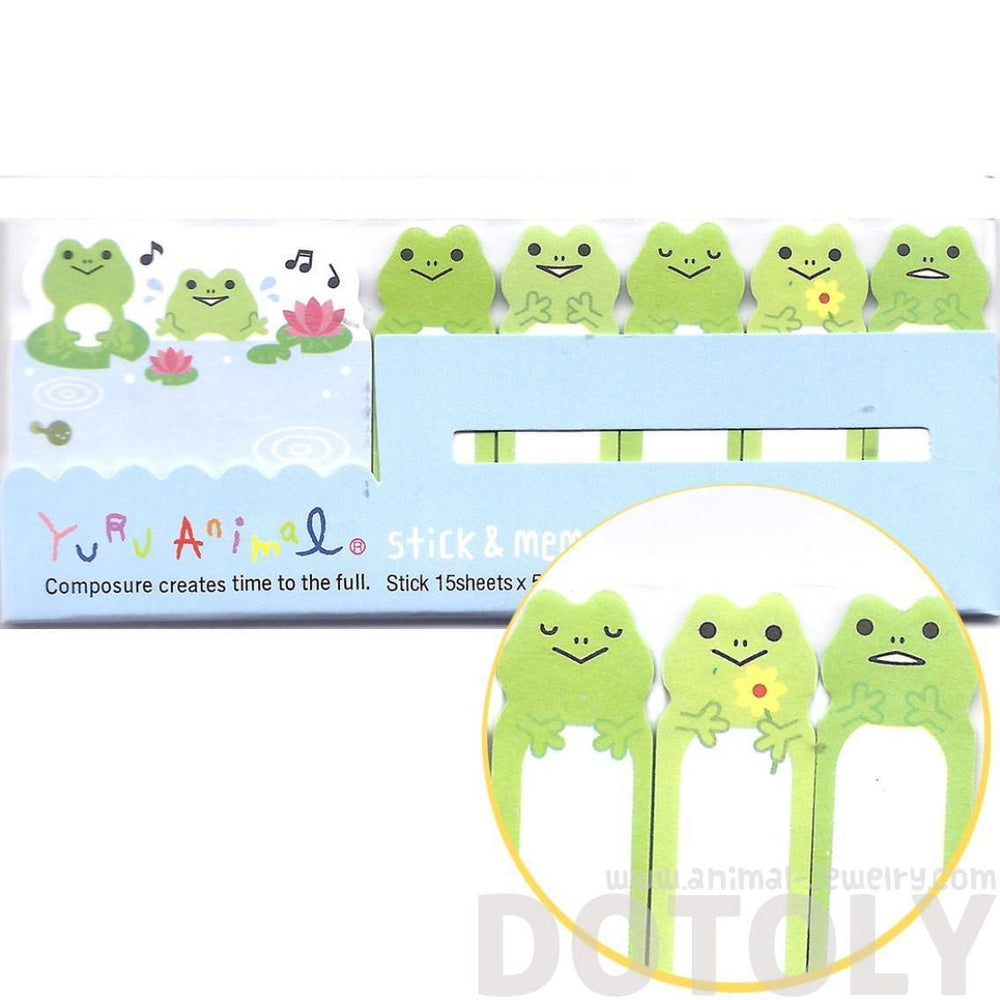 green frog toad lily pad illustrated memo post it index bookmark
