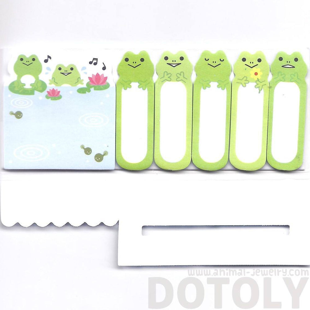 Green Frog Toad and Lily Pad Illustrated Cute Memo Post-it Index Tab Sticky Bookmarks | DOTOLY