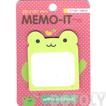 Green Froggy Frog Shaped Memo Sticky Post-it Note Pad | Animal Themed Stationery | DOTOLY