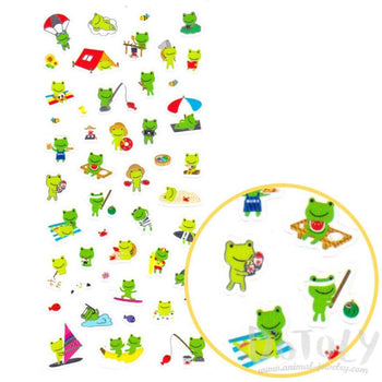 Green Froggy Frogs Toads Going Camping Shaped Cartoon Stickers for Scrapbooking | DOTOLY