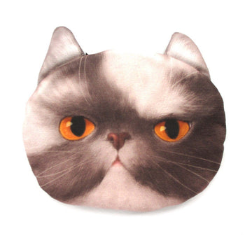 Grey and White Kitty Cat Face Shaped Coin Purse Make Up Bag with Yellow Eyes | DOTOLY