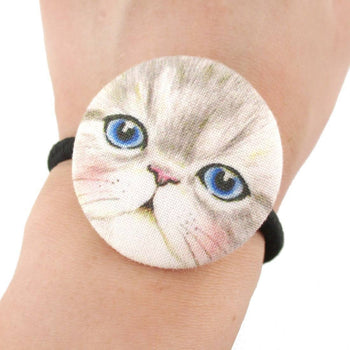 Grey Kitty Cat Face Shaped Button Hair Tie Ponytail Holder | DOTOLY
