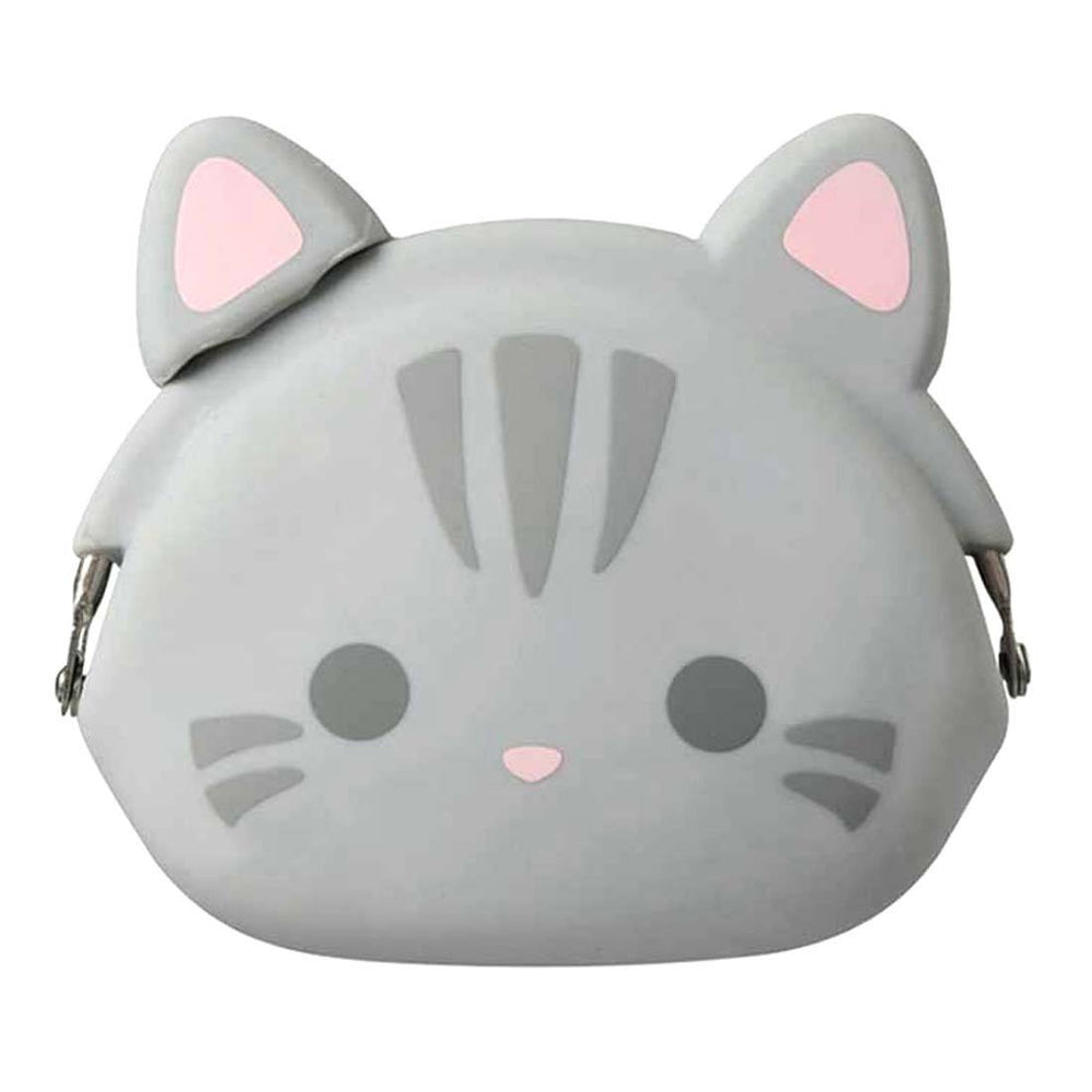 Grey Kitty Cat Face Shaped Mimi Pochi Animal Friends Silicone Clasp Coin Purse Pouch | DOTOLY