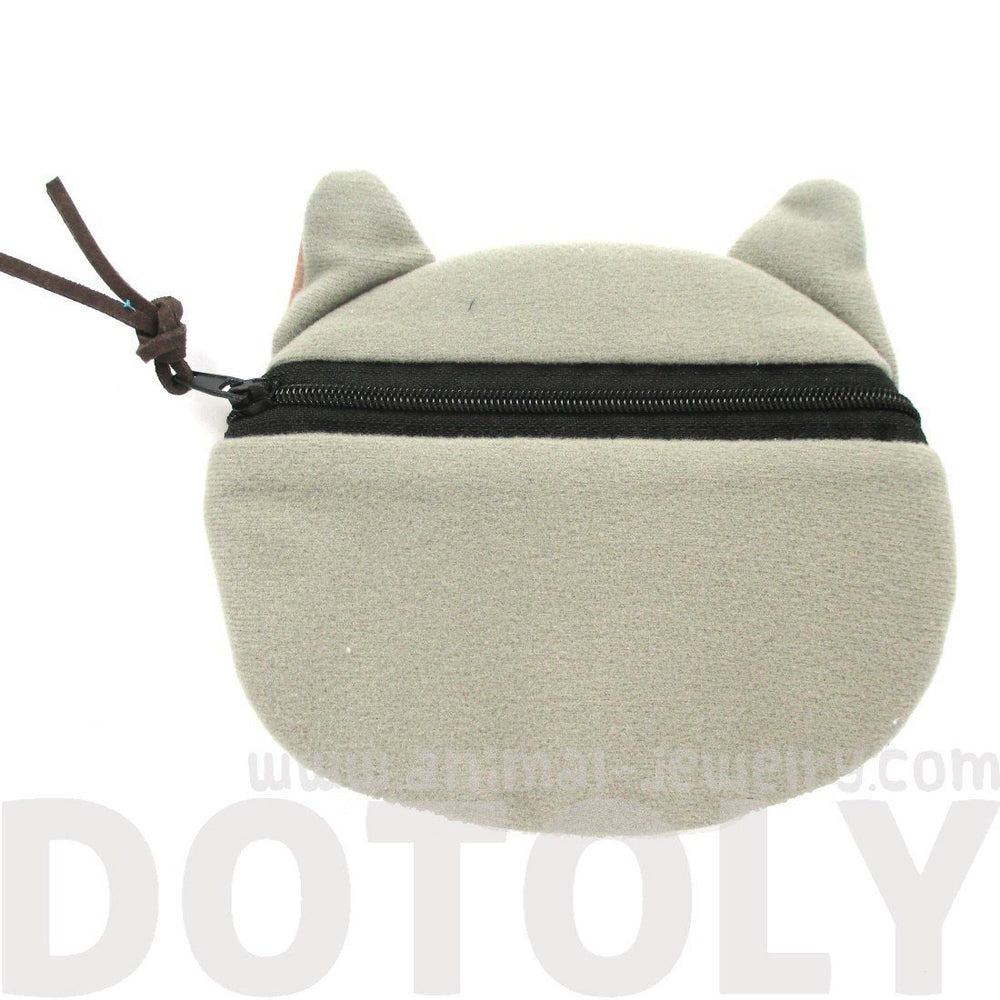 Grey Kitty Cat Face Shaped Soft Fabric Zipper Coin Purse Make Up Bag with Large Wide Eyes | DOTOLY