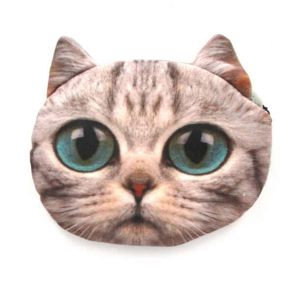 Grey Kitty Cat Face Shaped Coin Purse Make Up Bag With