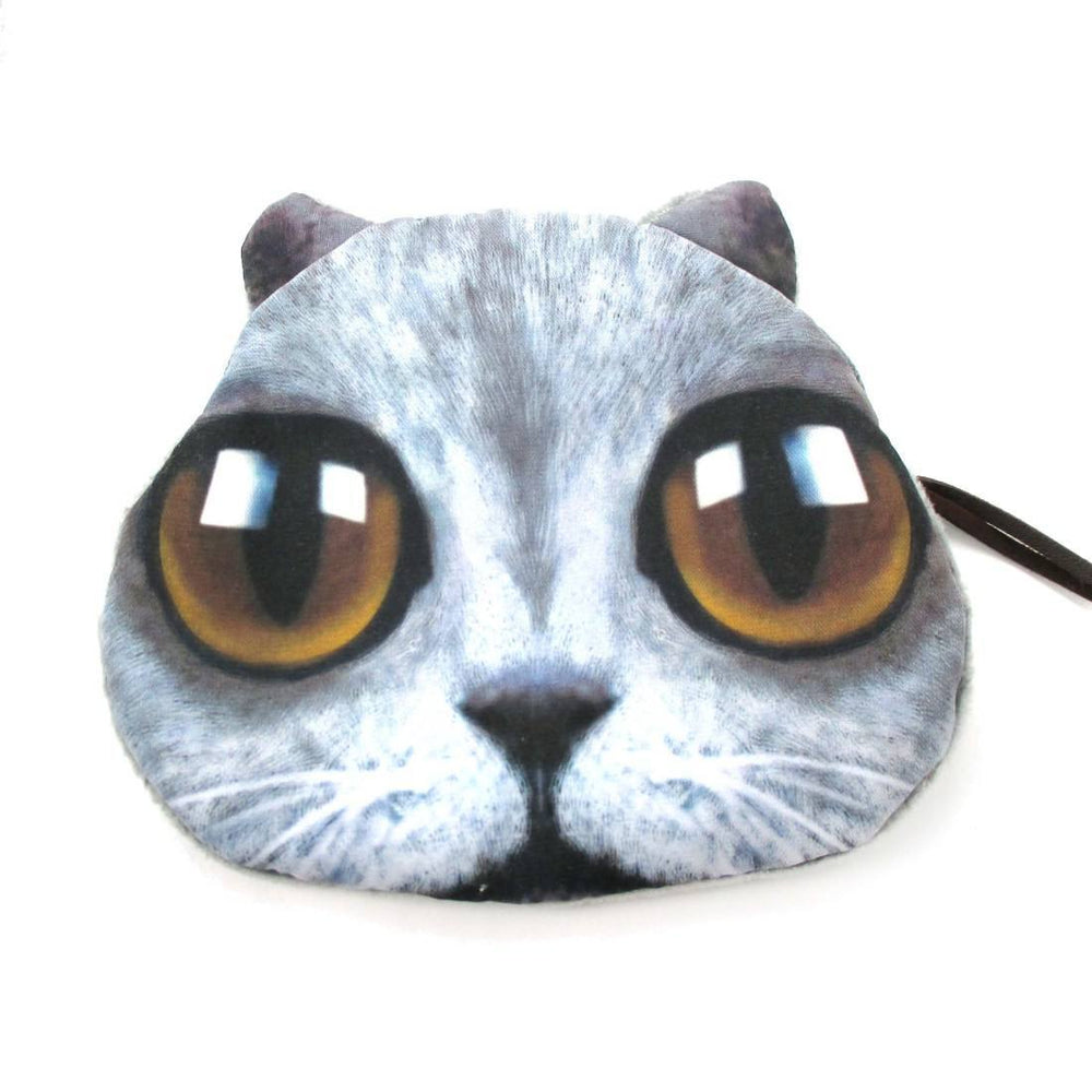 Grey Kitty Cat Face with Huge Eyes Shaped Soft Fabric Zipper Coin Purse Make Up Bag | DOTOLY