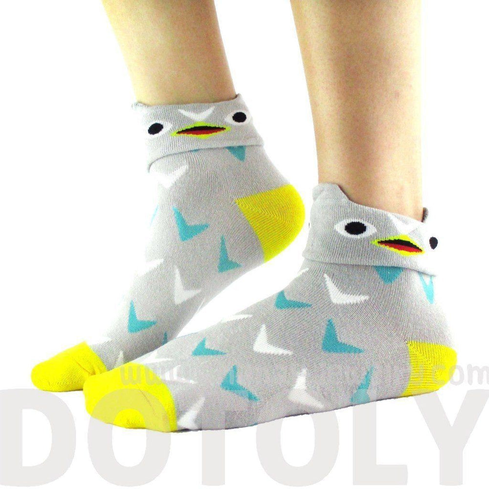 Grey Owl Shaped Cute Animal Short Cotton Socks for Women | DOTOLY | DOTOLY
