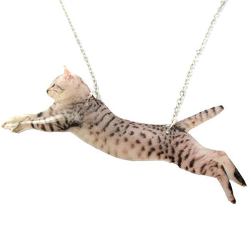 Grey Striped Kitty Cat Jumping in Mid Air Shaped Pendant Necklace | Handmade | DOTOLY