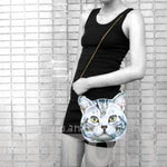Grey Striped Tabby Kitty Cat Head Shaped Vinyl Animal Themed Cross Shoulder Bag | DOTOLY | DOTOLY