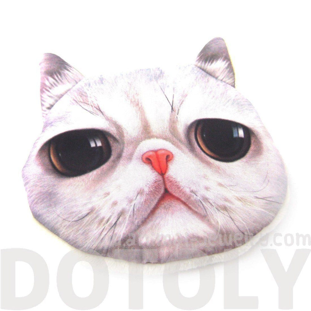 Grey Tabby Kitty Cat Face Shaped Soft Fabric Zipper Coin Purse Make Up Bag | DOTOLY