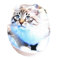 Grey Tabby Kitty Cat Oval Shaped Fabric Zipper Coin Purse Make Up Bag | DOTOLY