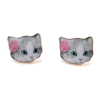 Grey Tabby with Rose Shaped Cat Lovers Stud Earrings | Animal Jewelry