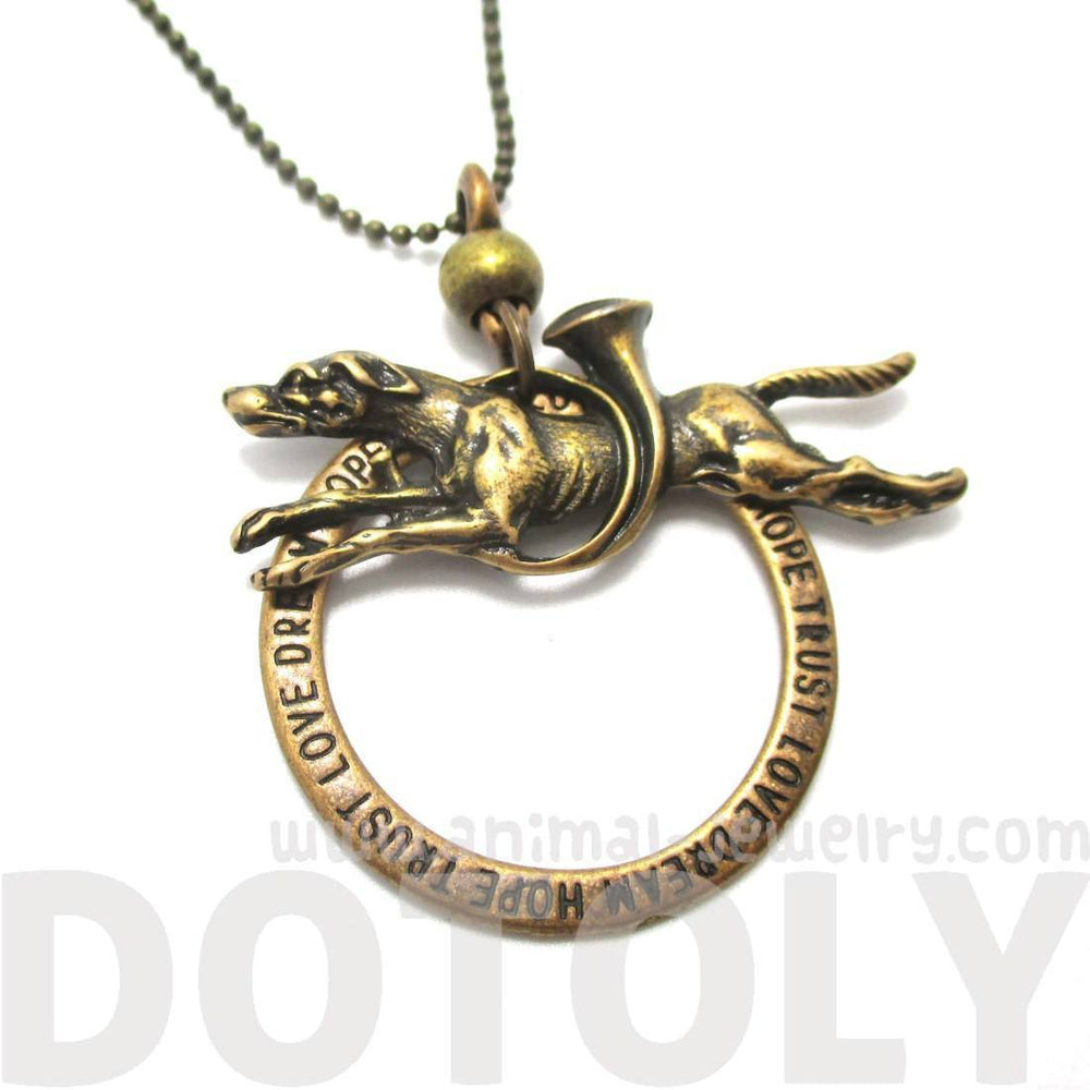 Greyhound Jumping Through A Hoop Shaped Animal Pendant Necklace in Brass | Jewelry for Dog Lovers | DOTOLY