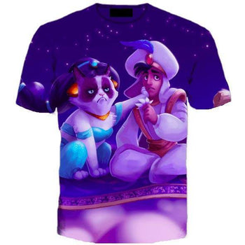 Grumpy Cat as Jasmine with Aladdin Disney Princess All Over Print Graphic Tee | DOTOLY