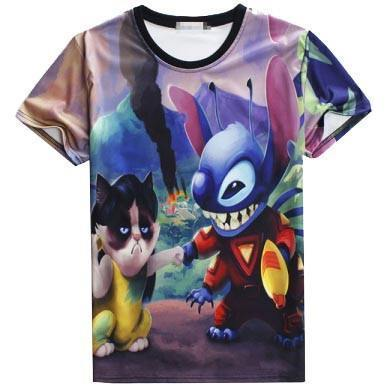 Grumpy Cat as Lilo & Stitch All Over Print Graphic Tee T-Shirt | DOTOLY