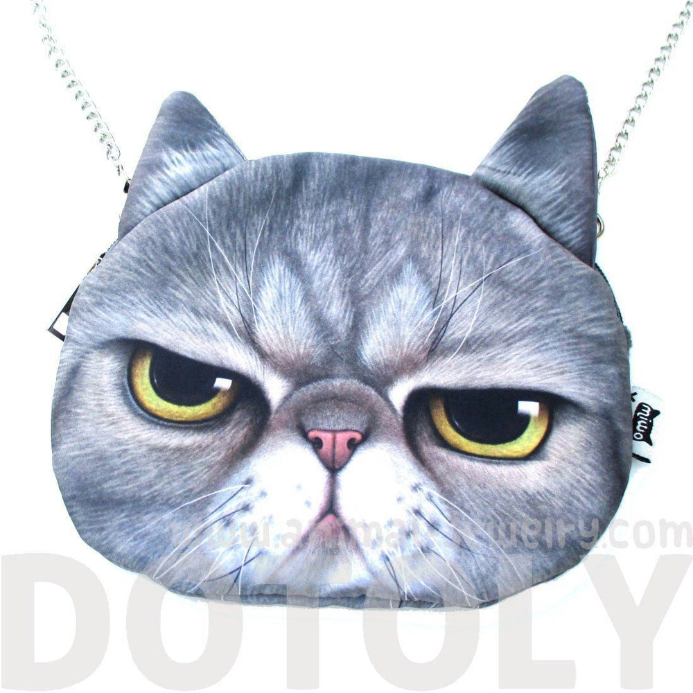 Grumpy Cat Face Shaped Grey Tabby Photo Digital Print X Body Shoulder Bag | DOTOLY
