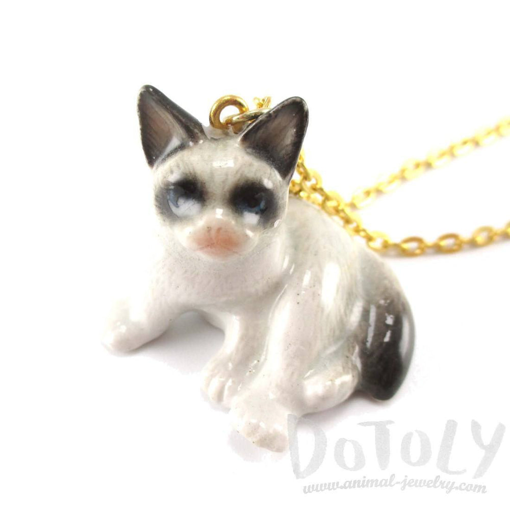 Grumpy Cat Siamese Kitty Porcelain Hand Painted Ceramic Animal Pendant Necklace | Handmade | DOTOLY
