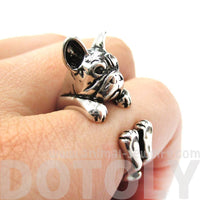 Grumpy French Bulldog Dog Shaped Animal Wrap Around Ring in Shiny Silver | US Sizes 4 to 8.5 | DOTOLY