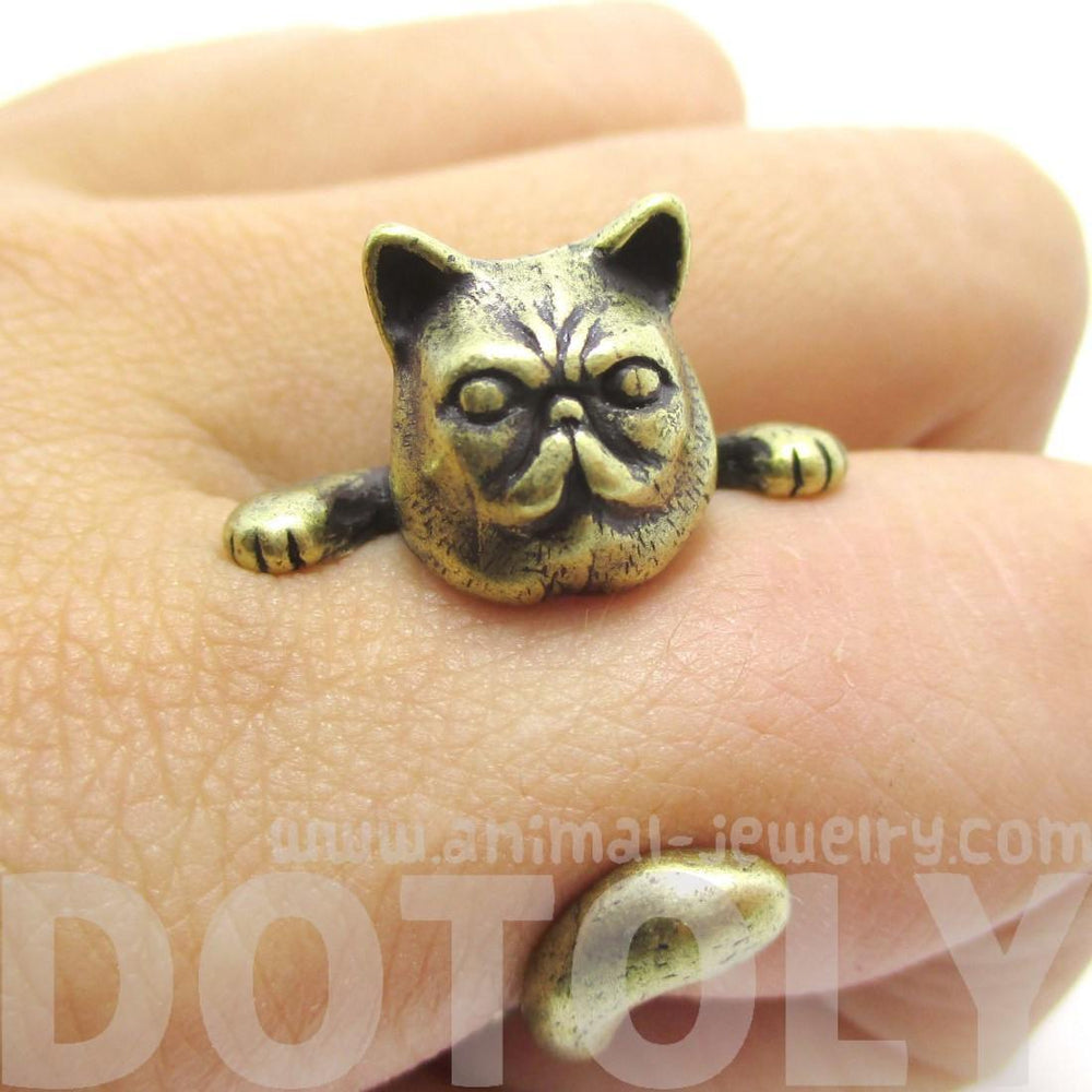 Grumpy Kitty Cat With A Mustache Shaped Animal Ring in Brass | US Size 3 to 8 | DOTOLY