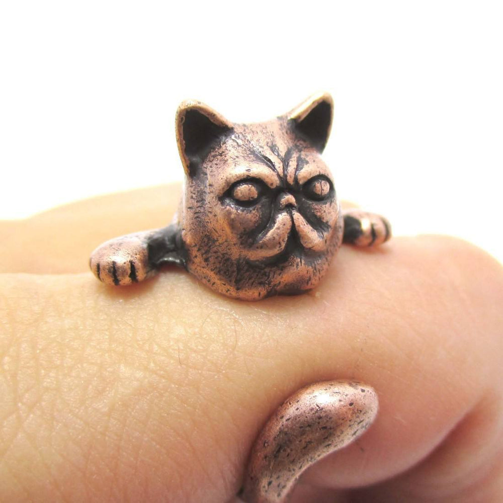 Grumpy Kitty Cat With A Mustache Shaped Animal Ring in Copper | US Size 3 to 8 | DOTOLY