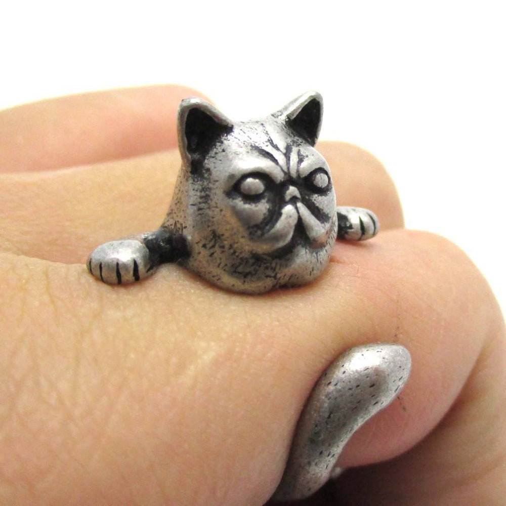 Grumpy Kitty Cat With A Mustache Shaped Animal Ring in Silver | US Size 3 to 8 | DOTOLY