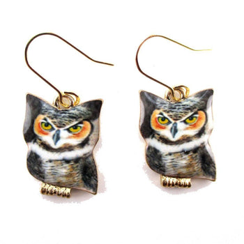 Grumpy Screech oOwl Shaped Enamel Dangle Earrings | Animal Jewelry