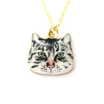 Grumpy Tabby Kitty Cat Face Shaped Charm Necklace | Animal Jewelry | DOTOLY