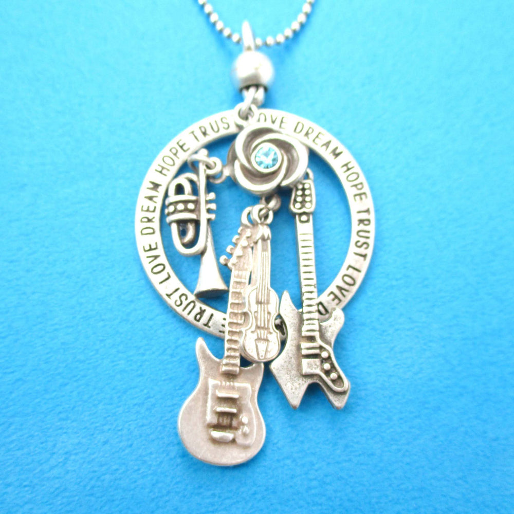 Guitar Violin Trumpet Musical Instrument Themed Charm Necklace in Silver | DOTOLY