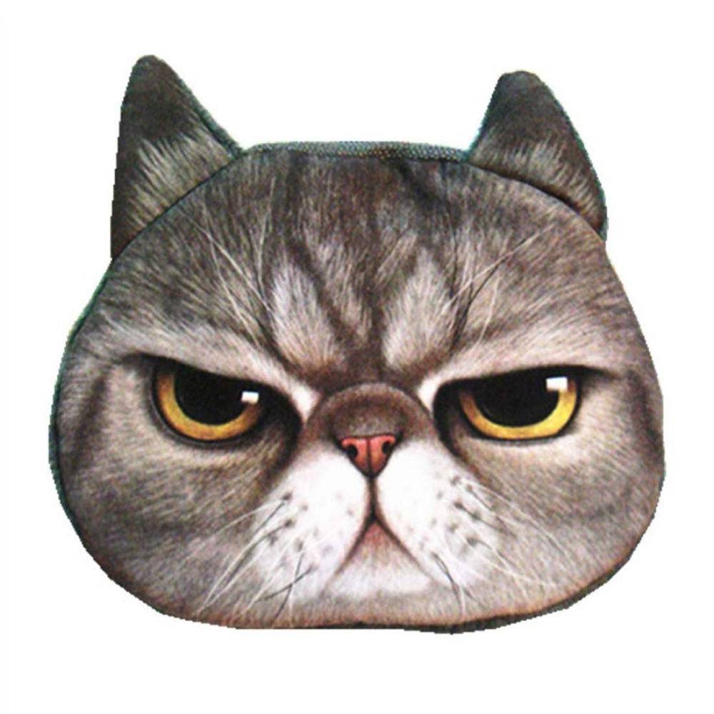 Grumpy Cat Kitty Tabby Face Shaped Soft Fabric Zipper Coin Purse Make Up Bag | DOTOLY