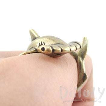 Hammerhead Shark Sea Creatures Shaped Wrap Around Ring in Brass | Size 5 to 9 | DOTOLY