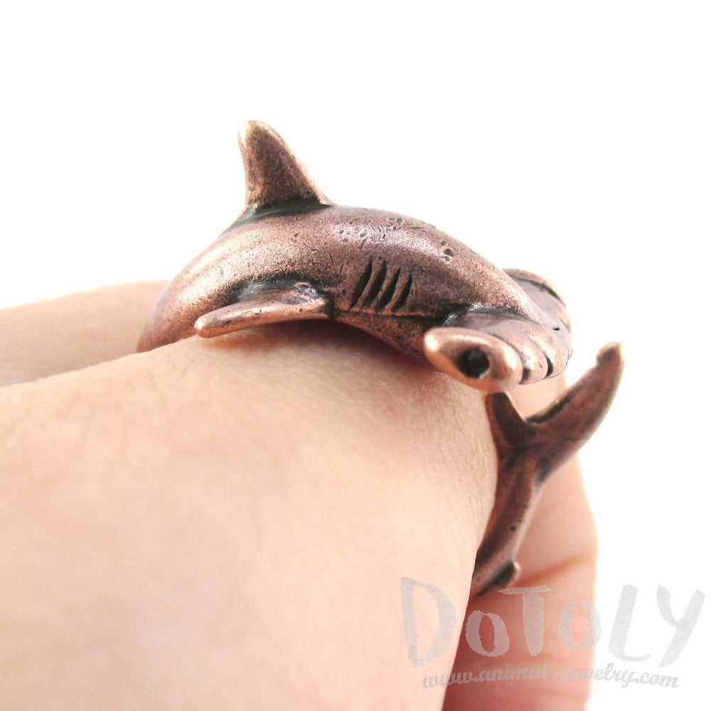 Hammerhead Shark Sea Creatures Shaped Wrap Around Ring in Copper | Size 5 to 9 | DOTOLY