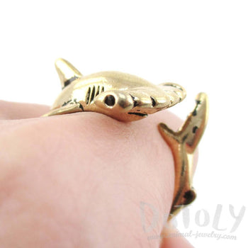 Hammerhead Shark Sea Creatures Shaped Wrap Around Ring in Shiny Gold | Size 5 to 9 | DOTOLY