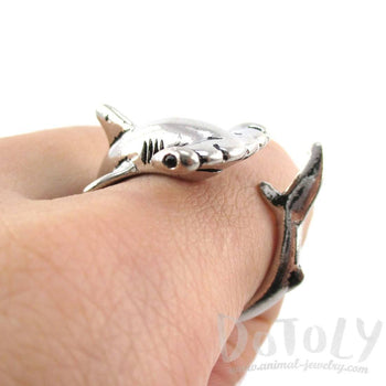 Hammerhead Shark Sea Creatures Shaped Wrap Around Ring in Shiny Silver | Size 5 to 9 | DOTOLY